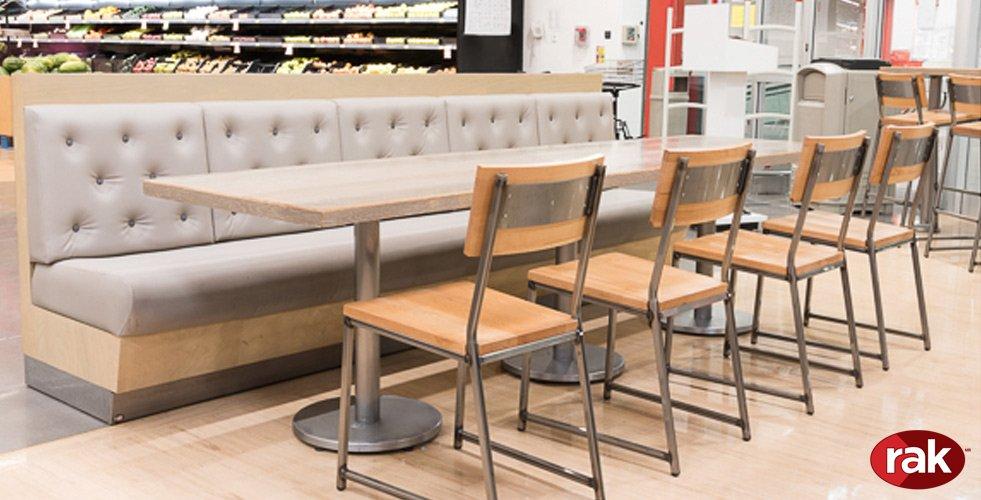 Rak mobiliario para restaurantes y cafeterias for Modelos de mesas para cafeteria